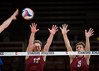 STANFORD, CA - March 2, 2019: Eli Wopat, Stephen Moye at Maples Pavilion. The Stanford Cardinal defeated BYU 25-20, 25-20, 22-25, 25-21.