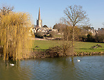Church of Saint Lawrence, Lechlade, Gloucestershire, England, UK view from River Thames