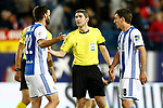 Real Sociedad's Raul Navas (l) and Mikel Oyarzabal have words with the referee Alberto Undiano Mallenco during La Liga match. April 4,2017. (ALTERPHOTOS/Acero)