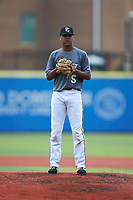 Samari Robinson (5) of Green Level High School in Cary, NC during the Atlantic Coast Prospect Showcase hosted by Perfect Game at Truist Point on August 23, 2020 in High Point, NC. (Brian Westerholt/Four Seam Images)