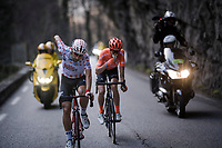 polka dot Thomas De Gendt (BEL/Lotto-Soudal) keeping energy levels up mid-race<br /> <br /> Stage 7: Nice to Col de Turini (181km)<br /> 77th Paris - Nice 2019 (2.UWT)<br /> <br /> ©kramon