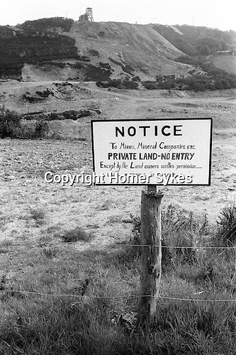 Tin Mining Cornwall 1978. No entry sign put up by  Mr J. Evans, Fernsplatt Farm, Lord of this Manor.