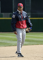 April 9, 2004:  /c/ Guillermo Quiroz (12) of the Syracuse Sky Chiefs, Class-AAA International League affiliate of the Toronto Blue Jays, during a game at Frontier Field in Rochester, NY.  Photo by:  Mike Janes/Four Seam Images