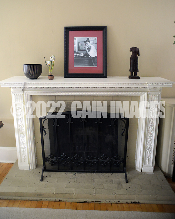 A photograph of Oscar Hammerstein rests atop a fire place in his old workroom Friday March 24, 2017 at Highland Farm in Doylestown, Pennsylvania. Hammerstein is in the process of raising money to restore the old brand create a Hammerstein museum dedicated to his grandfather, Oscar Hammerstein, writer of the broadway musicals, Sound of Music, King and I, Oklahoma and Carousel to name a few. (WILLIAM THOMAS CAIN / For The Philadelphia Inquirer)