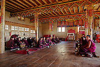 Nuns sit in the chanting hall of Thuptencholing Monastery - SOLU VALLEY, NEPAL