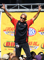 Aug 21, 2016; Brainerd, MN, USA; NHRA  funny car driver Brian Stewart during the Lucas Oil Nationals at Brainerd International Raceway. Mandatory Credit: Mark J. Rebilas-USA TODAY Sports