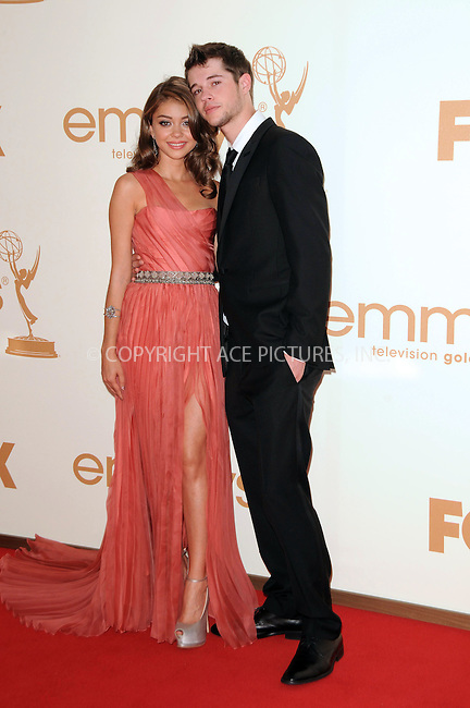 WWW.ACEPIXS.COM . . . . .  ....September 18 2011, LA....Actress Sarah Hyland (L) and actor Matt Prokop arriving at the 63rd Annual Primetime Emmy Awards held at Nokia Theatre L.A. LIVE on September 18, 2011 in Los Angeles, California....Please byline: PETER WEST - ACE PICTURES.... *** ***..Ace Pictures, Inc:  ..Philip Vaughan (212) 243-8787 or (646) 679 0430..e-mail: info@acepixs.com..web: http://www.acepixs.com
