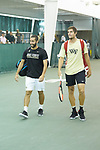 Petros Chrysochos (left) and Borna Gojo walk to the court prior to the start of the finals of the 2018 NCAA Men's Tennis Singles Championship at the Wake Forest Indoor Tennis Center on May 28, 2018 in Winston-Salem, North Carolina. Petros Chrysochos defeated teammate Borna Gojo 6-3 6-3.  (Brian Westerholt/Sports On Film)