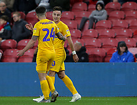 Preston North End's Josh Harrop celebrates scoring the opening goal with Sean Maguire<br /> <br /> Photographer Alex Dodd/CameraSport<br /> <br /> The EFL Sky Bet Championship - Middlesbrough v Preston North End - Tuesday 1st October 2019  - Riverside Stadium - Middlesbrough<br /> <br /> World Copyright © 2019 CameraSport. All rights reserved. 43 Linden Ave. Countesthorpe. Leicester. England. LE8 5PG - Tel: +44 (0) 116 277 4147 - admin@camerasport.com - www.camerasport.com