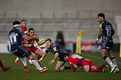 24th March 2018, AJ Bell Stadium, Salford, England; Aviva Premiership rugby, Sale Sharks versus Worcester Warriors; Will Addison passes the ball to Jono Ross of Sale Sharks as he is tackled by Dean Hammond of Worcester Warriors