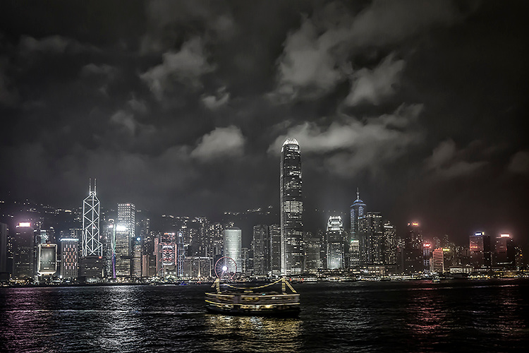 Skyline of Hong Kong viewed from Kowloon side.