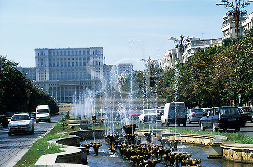 Bucharest, Romania. The People's Palace (Parliament Palace) with fountain in front. Built by ex-president Ceaucescu.
