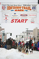 Matt Giblin leaves the 2011 Iditarod ceremonial start line in downtown Anchorage, during the 2012 Iditarod..Jim R. Kohl/Iditarodphotos.com