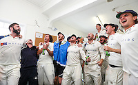 Picture by Alex Whitehead/SWpix.com - 12/09/2014 - Cricket - LV County Championship Div One - Nottinghamshire CCC v Yorkshire CCC, Day 4 - Trent Bridge, Nottingham, England - Yorkshire celebrate in the dressing room after winning the title.