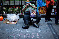 A protester rest after a march while protesters of the Occupy Wall Street movement celebrate their first anniversary with marches and confrontations with the New York police where 150 protesters have been arrested during weekend celebrations in Manhattan.  Photo by Eduardo Munoz Alvarez / VIEWpress.