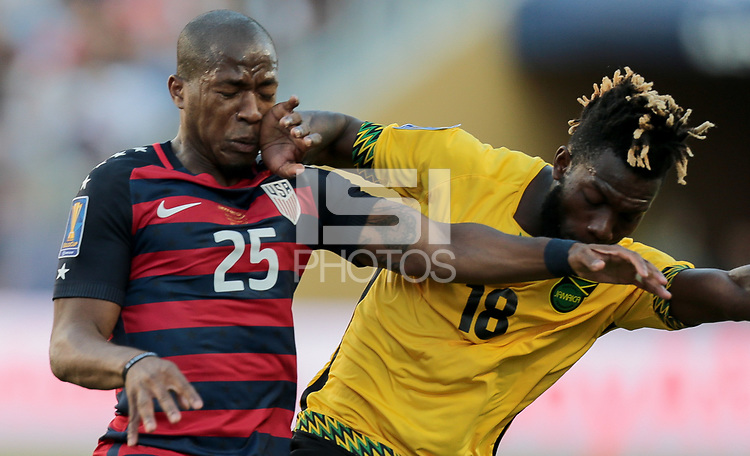 Santa Clara, CA - Wednesday July 26, 2017: Darlington Nagbe, Owayne during the 2017 Gold Cup Final Championship match between the men's national teams of the United States (USA) and Jamaica (JAM) at Levi's Stadium.