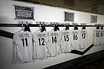 Edinburgh City v Spartans, 11/04/2015. Commonwealth Stadium, Scottish Lowland League. An view of the home dressing room at the Commonwealth Stadium at Meadowbank before the Scottish Lowland League match between Edinburgh City and city rivals Spartans, which was won by the hosts by 2-0. Edinburgh City were the 2014-15 league champions and progressed to a play-off to decide whether there would be a club promoted to the Scottish League for the first time in its history. The Commonwealth Stadium hosted Scottish League matches between 1974-95 when Meadowbank Thistle played there. Photo by Colin McPherson.