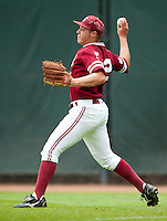 STANFORD, CA - April 23, 2011: Brian Guymon of Stanford baseball throws to second on a UCLA double during Stanford's game against UCLA at Sunken Diamond. Stanford won 5-4