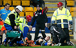 St Johnstone v Kilmarnock....06.11.10  .Marcus Haber lies injured before being stretchered off.Picture by Graeme Hart..Copyright Perthshire Picture Agency.Tel: 01738 623350  Mobile: 07990 594431