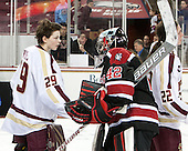 Corinne Boyles (BC - 29), Sarah Foss (NU - 42), Haley Skarupa (BC - 22) - The Boston College Eagles celebrate winning the 2014 Beanpot championship on Tuesday, February 11, 2014, at Kelley Rink in Conte Forum in Chestnut Hill, Massachusetts.