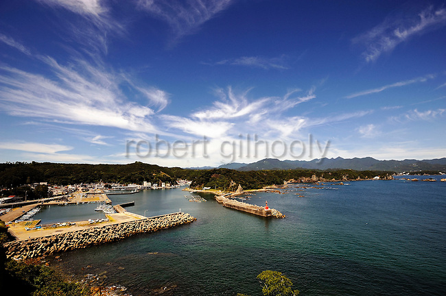 Photo shows the port at Taiji, Japan on 10 September 2009. Japan's traditional whaling methods are said to have originated in Taiji in the 17th century, while dolphin hunting continues to be a prominent industry in the town, sparking protests from international conservation groups. .Photographer: Robert Gilhooly.