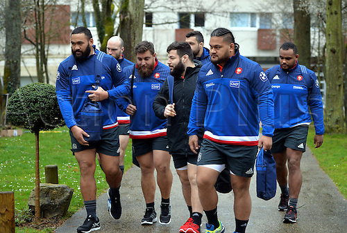 23.02.2016. CNR Marcoussis, Paris, France. The French nationaol rugby team at practise before their 6 Nations game against Wales on 25th February 2016.  Uini ATONIO (fra) and Xavier CHIOCCI (fra) - Rabah SLIMANI (fra) - Vincent PELO (fra)
