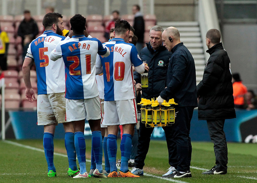 Blackburn Rovers manager Paul Lambert has a word with his team during a break in play<br /> <br /> Photographer David Shipman/CameraSport<br /> <br /> Football - The Football League Sky Bet Championship - Middlesbrough v Blackburn Rovers - Saturday 6th February 2016 - Riverside Stadium - Middlesbrough <br /> <br /> &copy; CameraSport - 43 Linden Ave. Countesthorpe. Leicester. England. LE8 5PG - Tel: +44 (0) 116 277 4147 - admin@camerasport.com - www.camerasport.com