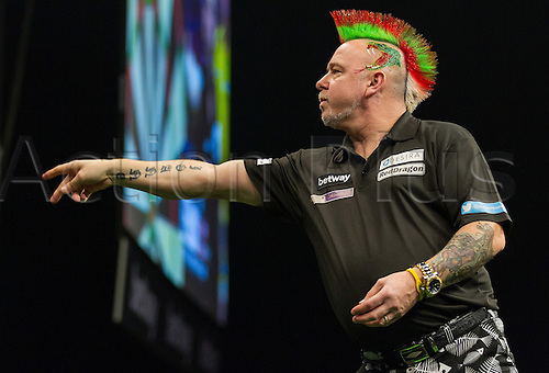 31.03.2016. The Motorpoint Arena, Cardiff.  Betway PDC Premier League Darts Judgement Night. Peter Wright in action against Dave Chisnall