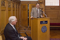 Craig R. Barrett, Chairman of the Board Intel Corporation. Being introduced by SOM Dean Joel M. Podolny. About to speak at the Yale University School of Management Leaders Forum, February 22, 2006