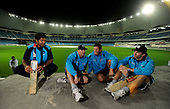 Scotland cricket team players (l to r) Majid Haq, Gavin Hamilton (Capt), Gordon Drummond and Fraser Watts get their first view of the Dubai Sport City Cricket Stadium in advance of next week's T2 World Cup Qualifying matches being played at this ground and in Abu Dhabi, in a pool group with Afghanistan, USA, and Ireland, with two nations going through to the finals next weekend - Picture by Donald MacLeod 06.02.10