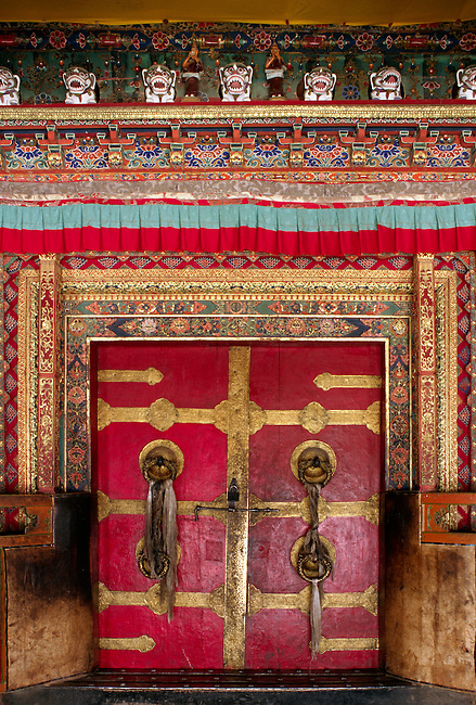 Beautifully constructed DOORWAY of THE ASSEMBLY HALL known as TSOG-CHEN at SERA MONASTERY - LHASA, TIBET