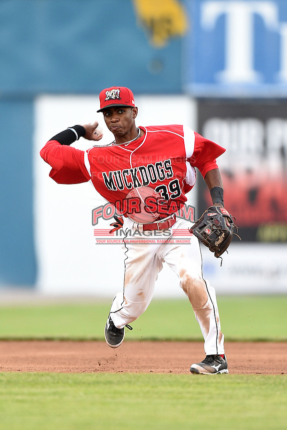 Batavia Muckdogs third baseman Mason Davis (39) throws to first during a game against the Auburn Doubledays on June 16, 2014 at Dwyer Stadium in Batavia, New York.  Batavia defeated Auburn 4-3.  (Mike Janes/Four Seam Images)