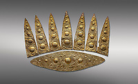 Top leaf shapes of a Mycenaean gold diadem from Grave III, 'Grave of a Women', Grave Circle A, Myenae, Greece. National Archaeological Museum Athens. Grey Background<br /> <br /> Cat No 3,5. 16th century BC.<br /> <br /> Shaft Grave III, the so-called 'Grave of the Women,' contained three female and two infant interments. The women were literally covered in gold jewelry and wore massive gold diadems, while the infants were overlaid with gold foil.