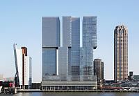 Nederland  Rotterdam -  2017.  Gebouw de Rotterdam op de Wilhelminapier. De Rotterdam is ontworpen door OMA architect Rem Koolhaas.     Foto Berlinda van Dam / Hollandse Hoogte