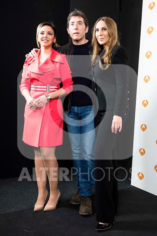 "Chenoa, Manel Fuentes and Monica Naranjo during the presentation of the new TV program of Antena 3, ""Tu cara no me suena"" at  Teatro Gran Maestre in Madrid. March 08, 2017. (ALTERPHOTOS/Borja B.Hojas)"