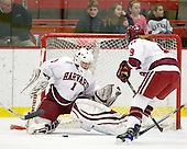 Laura Bellamy (Harvard - 1), Kathryn Farni (Harvard - 8) - The Harvard University Crimson defeated the Boston College Eagles 5-0 in their Beanpot semi-final game on Tuesday, February 2, 2010 at the Bright Hockey Center in Cambridge, Massachusetts.