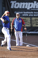 Bruce Walton #18, Iowa Cubs pitching coach, watches Chis Rusin warm up against the Omaha Storm Chasers at Principal Park on July 2, 2014 in Des Moines, Iowa. The Cubs  beat Storm Chasers 4-3.   (Dennis Hubbard/Four Seam Images)
