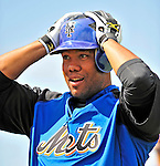 7 March 2009: New York Mets' pitcher Livan Hernandez prepares to take batting practice prior to a Spring Training game against the Washington Nationals at Tradition Field in Port St. Lucie, Florida. The Nationals defeated the Mets 7-5 in the Grapefruit League matchup. Mandatory Photo Credit: Ed Wolfstein Photo