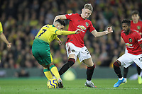 Scott McTominay of Manchester United challenges Emi Buendia of Norwich City during the Premier League match between Norwich City and Manchester United at Carrow Road on October 27th 2019 in Norwich, England. (Photo by Matt Bradshaw/phcimages.com)<br /> Foto PHC/Insidefoto <br /> ITALY ONLY