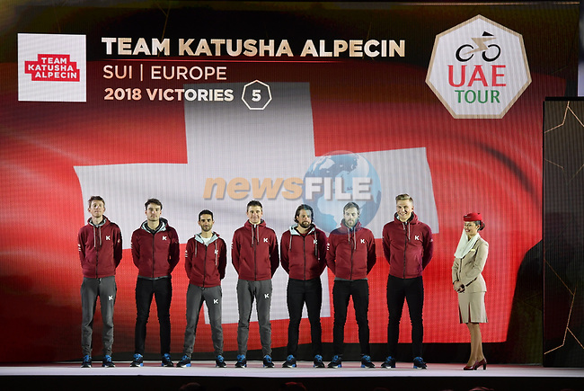 Team Katusha Alpecin on stage at the inaugural UAE Tour 2019 opening ceremony and team presentation held in the Louvre Abu Dhabi, United Arab Emirates. 23rd February 2019.<br /> Picture: LaPresse/Fabio Ferrari | Cyclefile<br /> <br /> <br /> All photos usage must carry mandatory copyright credit (© Cyclefile | LaPresse/Fabio Ferrari)