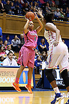 04 February 2016: Virginia's Mikayla Venson (1) shoots over Duke's Amber Henson (right). The Duke University Blue Devils hosted the University of Virginia Cavaliers at Cameron Indoor Stadium in Durham, North Carolina in a 2015-16 NCAA Division I Women's Basketball game. Both teams wore pink as part of the annual Play4Kay game in support of the Kay Yow Cancer Fund. Duke won the game 67-52.