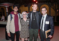 From left: Anoop D'Souza '19, Wendy Sternberg, a guest and Charlie Cardillo<br /> Music-MAC Panel Discussion: United Skates<br /> From Queen Latifah, Salt-N-Pepa and Naughty by Nature in New York/New Jersey to Dr. Dre and Ice Cube in Los Angeles, roller rinks have long been a mecca for music and creativity. With an average of three rinks closing a month, UNITED SKATES takes a deep dive into the vibrant and celebratory world of African American roller skating.<br /> Director Dyana Winkler and composer/Oxy instructor Jongnic Bontemps presented an exclusive partial screening of the film in advance of its February HBO premiere. Examining the interplay between film and music in storytelling, this panel discussion was moderated by Music and MAC Department Professors Adam Schoenberg and Broderick Fox. Mixer in the Booth Hall courtyard and panel in Booth Hall Room 204, Jan. 29, 2019.<br /> (Photo by Marc Campos, Occidental College Photographer)