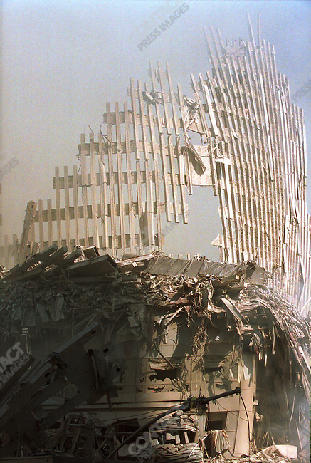 Attack on the World Trade Center, view of Ground Zero from Two World Financial Center, New York City, New York, USA, September 11, 2001
