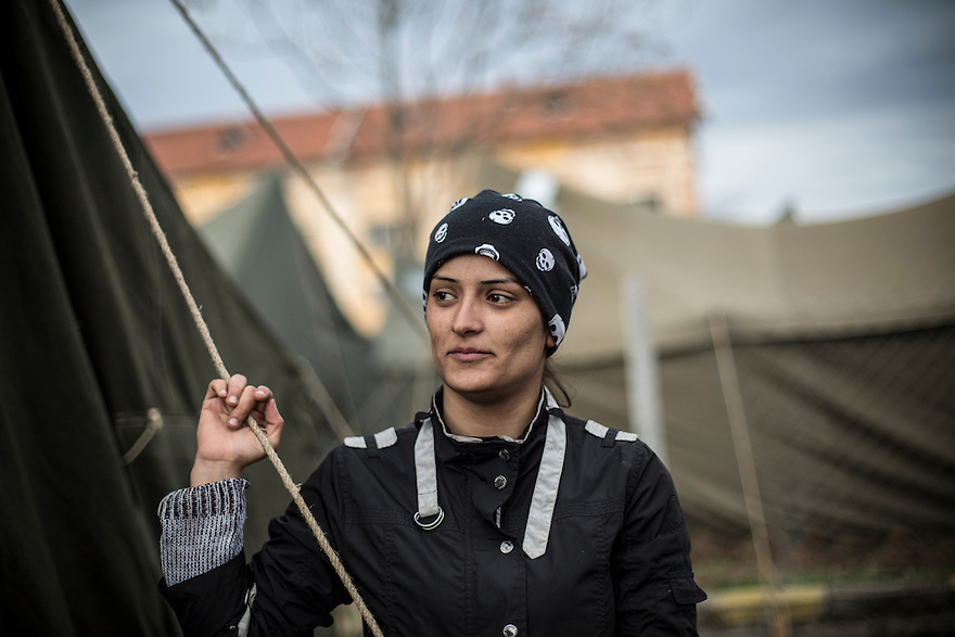 Jazia Ramo, a Kurdish refugee from Syria at Harmanli, a refugee camp near the Turkish border. Ramo, who worked as an English language translator for Médecins Sans Frontières  while in Bulgaria, is now living in Germany, where she is waiting to have her asylum request approved. She lives with other Syrian and Iraqi refugees  in a container-camp on the outskirts of Hamburg and recently began taking German classes and working a part-time job.