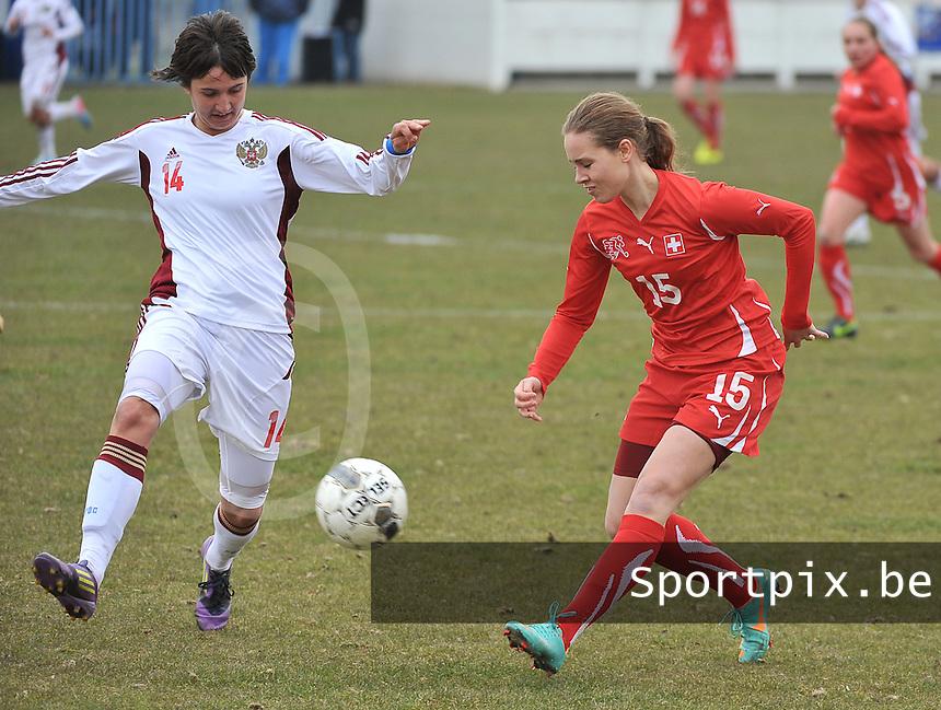 Switzerland U19 - Russia U19 : Switzerland number 15.Riana Fischer and russian Nasiba Gasanova.foto DAVID CATRY / Nikonpro.be