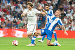 Real Madrid Luka Modric and RCD Espanyol Alex Lopez during La Liga match between Real Madrid and RCD Espanyol at Santiago Bernabeu Stadium in Madrid, Spain. September 22, 2018. (ALTERPHOTOS/Borja B.Hojas)