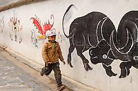 Asia,Cina,Guizhou,running child ,China minority