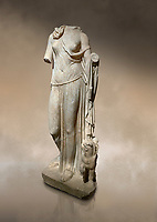 Roman statue of Nemesis. Marble. Perge. 2nd century AD. Inv no; . Antalya Archaeology Museum; Turkey. Against a warm art background.