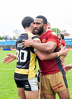 Picture by Allan McKenzie/SWpix.com - 22/04/2018 - Rugby League - Ladbrokes Challenge Cup - York City Knight v Catalans Dragons - Bootham Crescent, York, England - Players shake hands at the end of the game.