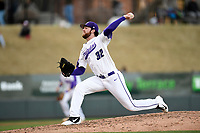 Starting pitcher John Michael Bertrand (32) of the Furman Paladins had a career-high seven strikeouts in a game against the South Carolina Gamecocks on Tuesday, March 19, 2019, at Fluor Field at the West End in Greenville, South Carolina. South Carolina won, 12-7. (Tom Priddy/Four Seam Images)